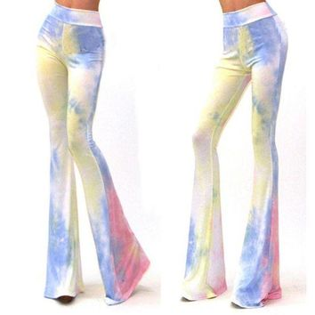 DCCKWJ7 Women Vintage Bell Bottom Pants Printed Lounge Stretch  Hippie Boho Trousers