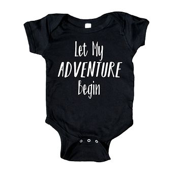 Let My Adventure Begin Baby Bodysuit Funny Cute Newborn Infant Girl Boy Baby Shower Gift Clothing