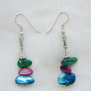 Green, Rose, Blue Drop Earrings