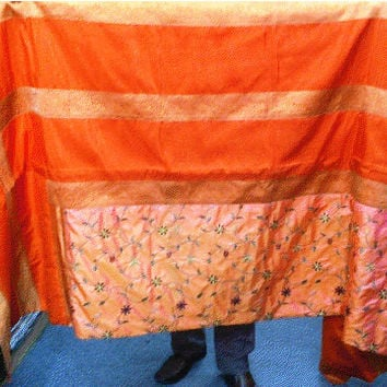 AFGHAN bed sheet set silk spread blanket long ethnic baluchi pakistani pillow cushion covers indian asian sofa futon couch throw 9x7 orange