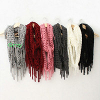 Winter warm knitting scarf infinity tassels scarf for woman multicolors