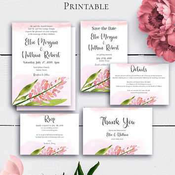 Personalized Blush Wedding Set, Wedding Invitatin, Save the Date, RSVP Card, Shabby Chic Wedding, Blush Watercolor Floral, Invitation Set