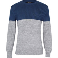 River Island Boys blue and grey cable sweater