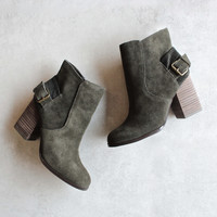 Sbicca - Lorenza - forest green suede leather ankle booties