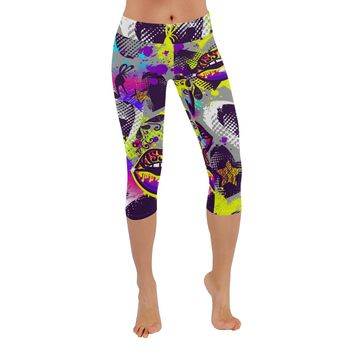 Kiss Lips Knee Length Yoga Capri Leggings