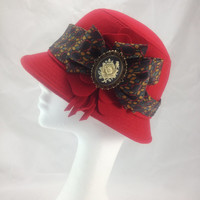 Red vintage hat, cloche hat, Hat for an occasion, Millinery hat, Cameo brooch