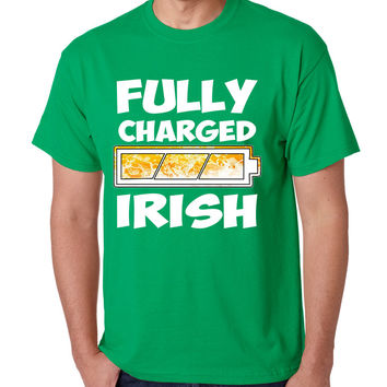 Men's T Shirt Fully Charged Irish St Patrick's Day Tee Shirt