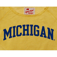 The M Den -  Sportique University of Michigan Ladies Yellow Arch Crop Cre
