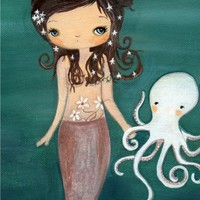 Mermaid Art Octopus Print Nautical Girl Wall Art ---Sea Friends
