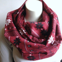 Nordic Print Infinity Scarf, Burgundy Flannel Circle Scarf, Wine Winter Scarf with Star and Deer Pattern