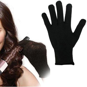 1 Pcs Professional Heat Resistant Glove Hair Styling Tool For Curling Straight Flat Iron Black heat glove for curling iron