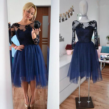 Long Sleeve Tulle Applique Homecoming Dress, 2017 Homecoming Dresses
