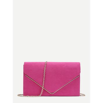 Pink Suede Envelope Clutch Bag