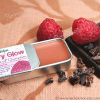Organic Raspberry Chocolate Lip balm - natural lip moisturizer in a retro tin