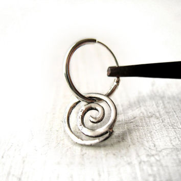 Symbol earring for men, spiral rebirth studs, spirituality, delicate silver swirl, boyfriend, contemporary jewelry, anniversary gift her