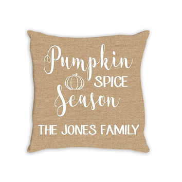 Pumpkin Spice Season Thanksgiving Family Personalized PILLOW Custom THROW Pillow with Insert or Sham Case Size Home Decor Housewarming