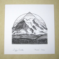 Mountain Art Giclee Print - Mount Rainier, Washington, Pacific Northwest - Black and White Pen and Ink Landscape  Drawing - 5x5