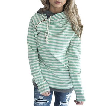 Green Stripes Hoodies