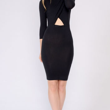 Black Mock Neck Cutout Dress