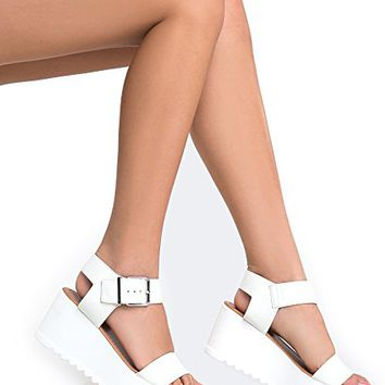 Soda Women's Platform Buckle Sandal - Open Peep Toe Fashion Chunky Ankle Strap Shoe - Surf by J Adams
