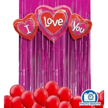 Red I Love You Balloon Backdrop Kit | Party City