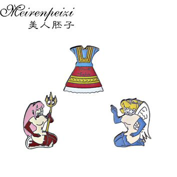 Cartoon Sexy Brooches Devil and Angel Enamel Pin Princess Dress Lapel Pin Hat Bag Pins Denim Jackets Women Brooch Badge