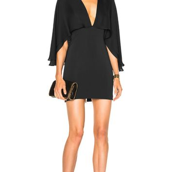 Black Cape Bandage And Chiffon Mini Dress