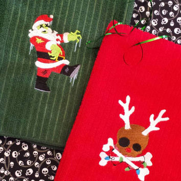 ZOMBIE Santa Skully ReindeeR Christmas Towel SeT Embroidered BOUTIQUE CUSTOM  Amazing Gift Stocking Stuffer Goth Decor Designs by Sugarbear