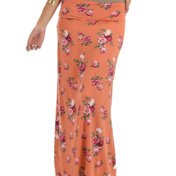 Lyss Loo Casablanca Fold Over Orange Floral Maxi Skirt