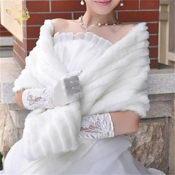 Womens Winter Wedding Faux Fur Stole - Warm & Great for the Wedding Party also - Free Shipping