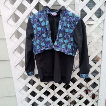 VINTAGE 70s Revival 80s 90s Cameo Rose Cotton Jacket Western Art Deco Abstract Psychedelic Geometric Unique