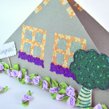 New Home Congrats. Paper House. New House Congratulations Card w/ purple flowers