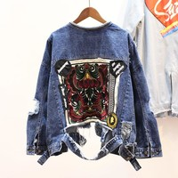 Women Short Hole Denim Jacket 2018 New Spring Back Retro Embroidery Cloth Loose Personality  All-match Jeans Coat Overcoats