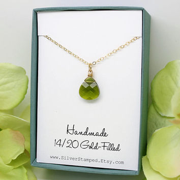 Green necklace, August birthstone jewelry, August birthday gift, Swarovski teardrop crystal peridot gold necklace