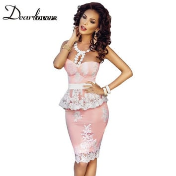 Dear lover Sexy Party Dresses Summer Floral Lace Crochet Nude Illusion Pink Peplum Dress Vestido Vintage Feminino LC61201