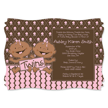 Twin Modern Baby Girls African American - Personalized Baby Shower Invitations