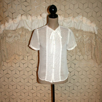 Sheer White Top Short Sleeve Button Up Blouse with Bow Swiss Dot Chiffon Blouse Pintuck Pleats Retro Preppy GAP Size Small Womens Clothing