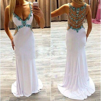 V Neck White Beaded Prom Dresses
