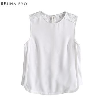 REJINAPYO Women Casual White Tank Tops Female Lace Patchwork Fashion Sexy Tops Vests Lady Solid Back Hallow Out Camis Top Tanks