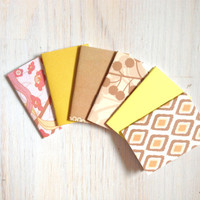 Notebooks: 6 Tiny Journal Set, Yellow, Tan, Wedding, Favors, Small Notebooks, For Her, For Him, Gift, Unique, Mini Journals, Party, T008