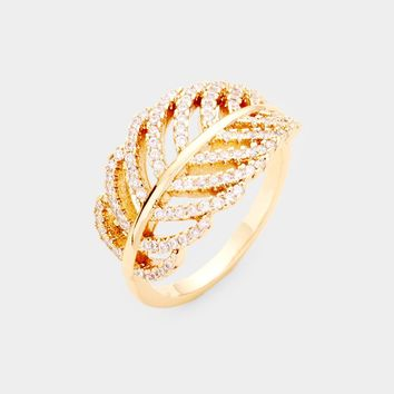 Gold Plated Cz Pave Leaf Ring