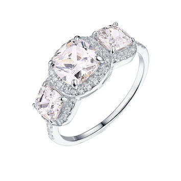 925 Silver Solitaire Ring Wedding Bridal Engagement White Gold Tone Cubic Zirconia
