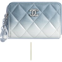 Calfskin, Patent Calfskin & Silver-Tone Metal Blue & White Coin Purse | CHANEL