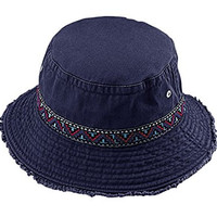 G Men's Cotton Twill Washed Bucket Hat with Jacquard Decorative Band Navy Blue (Large)
