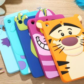 Free shipping New arrive gift Cute lovely 3D Cartoon Minnie Sulley tiger cat silicon Shell Case cover For iPad mini 1 2 3