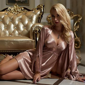 Brand Womens Silk Robe Set Sexy Pajamas Set Gold Sleeping Skirt Two Pieces Long Sleeve Ladies Nightgowns Lace Nightdress Femme