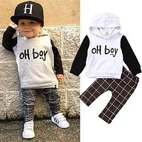 Cute Baby Boy Tracksuit Sweatshirt Tops+Long Pants 2pcs Outfits Boys Clothes Set 0-4Y
