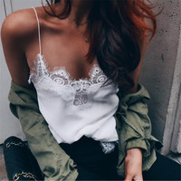 Summer Comfortable Stylish Beach Hot Bralette Chiffon Lace Patchwork Sexy White V-neck Vest [10215217799]