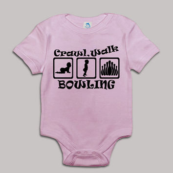 Crawl Walk Bowling Baby Bodysuit Baby Shower Baby Onesuit Baby Suit Baby One New Born Boy Girl Kids Child Children Clothes Gift Present