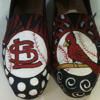 St Louis Cardinals Hand Painted Shoes by FancyFares on Etsy